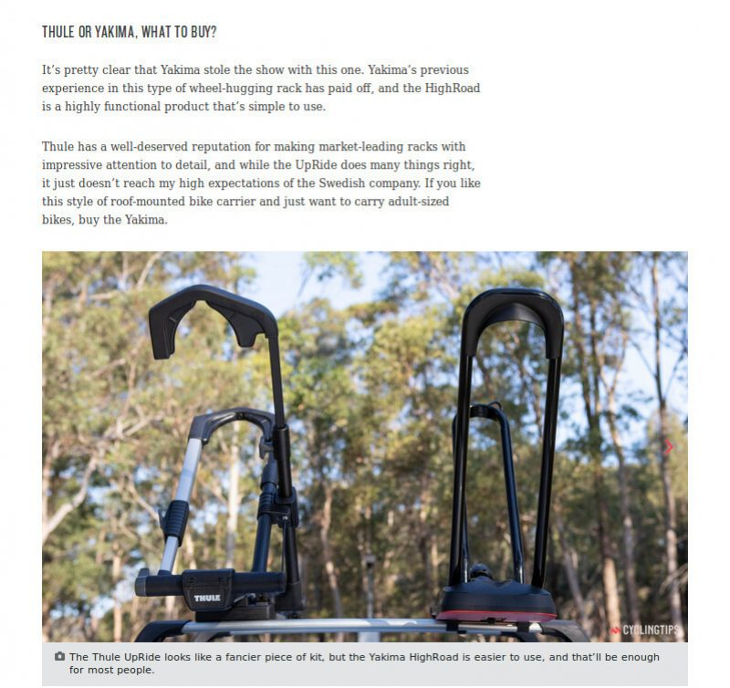 Test bagażników rowerowych Yakima HighRoad oraz Thule UpRide