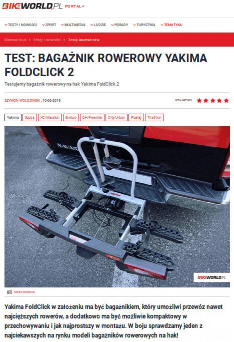 Yakima FoldClick doceniony przez bikeworld.pl