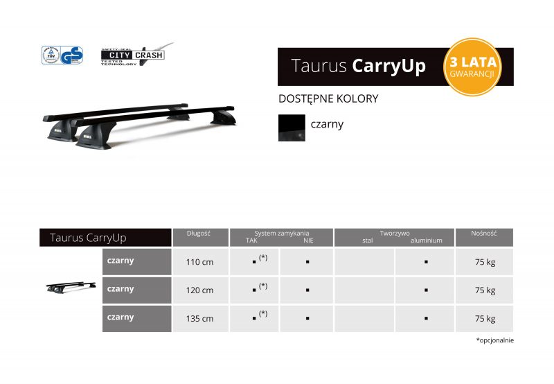 Nowe bagażniki bazowe Taurus CarryUp